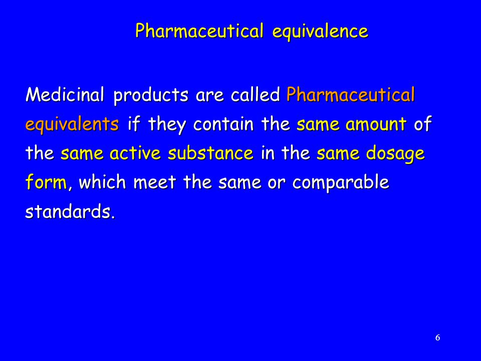 7  Particle size  Physico-chemical factors of drug  Solubility  Use of different excipients  Degree of agitation  Change in manufacturing process  Food HOWEVER - Pharmaceutical equivalence does not automatically assure bioequivalence mainly due to changes in dissolution, which can be influenced by: -