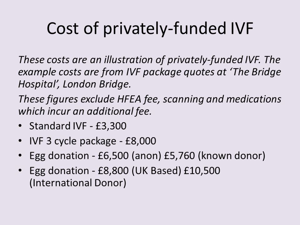 Cost of privately-funded IVF These costs are an illustration of privately-funded IVF. The example costs are from IVF package quotes at 'The Bridge Hos
