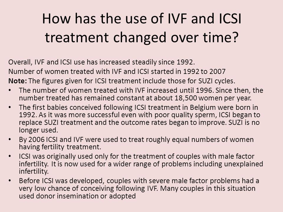 How has the use of IVF and ICSI treatment changed over time? Overall, IVF and ICSI use has increased steadily since 1992. Number of women treated with