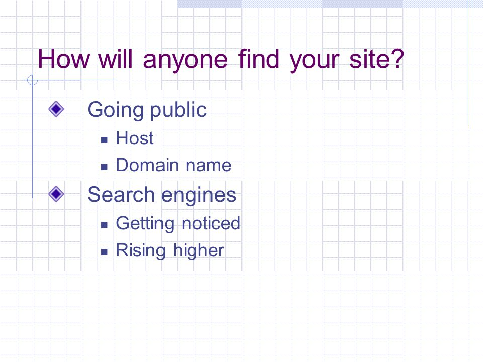 How will anyone find your site.