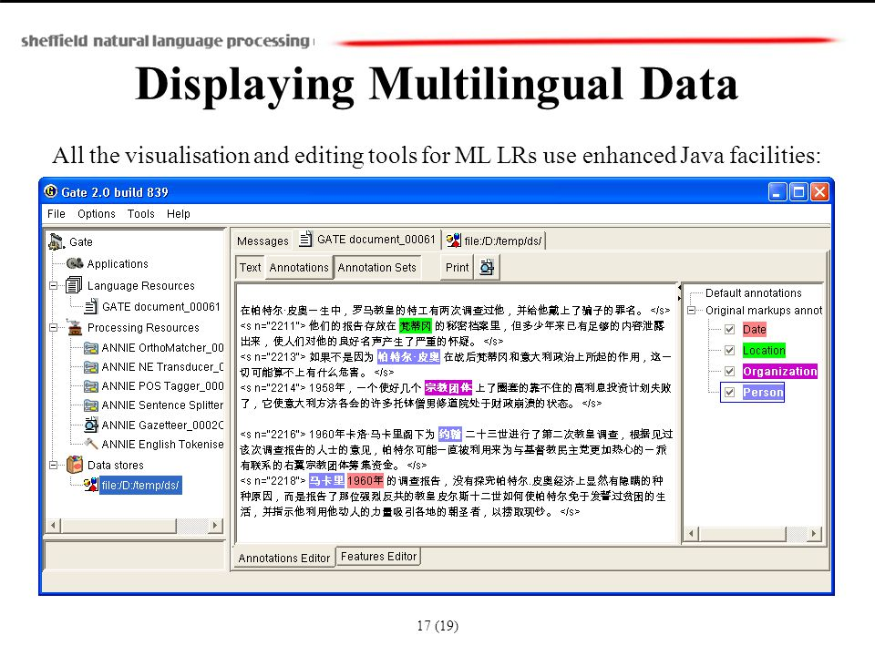Displaying Multilingual Data All the visualisation and editing tools for ML LRs use enhanced Java facilities: 17 (19)