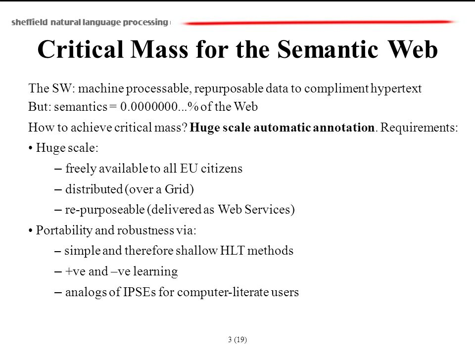 Critical Mass for the Semantic Web The SW: machine processable, repurposable data to compliment hypertext But: semantics = 0.0000000...% of the Web Ho
