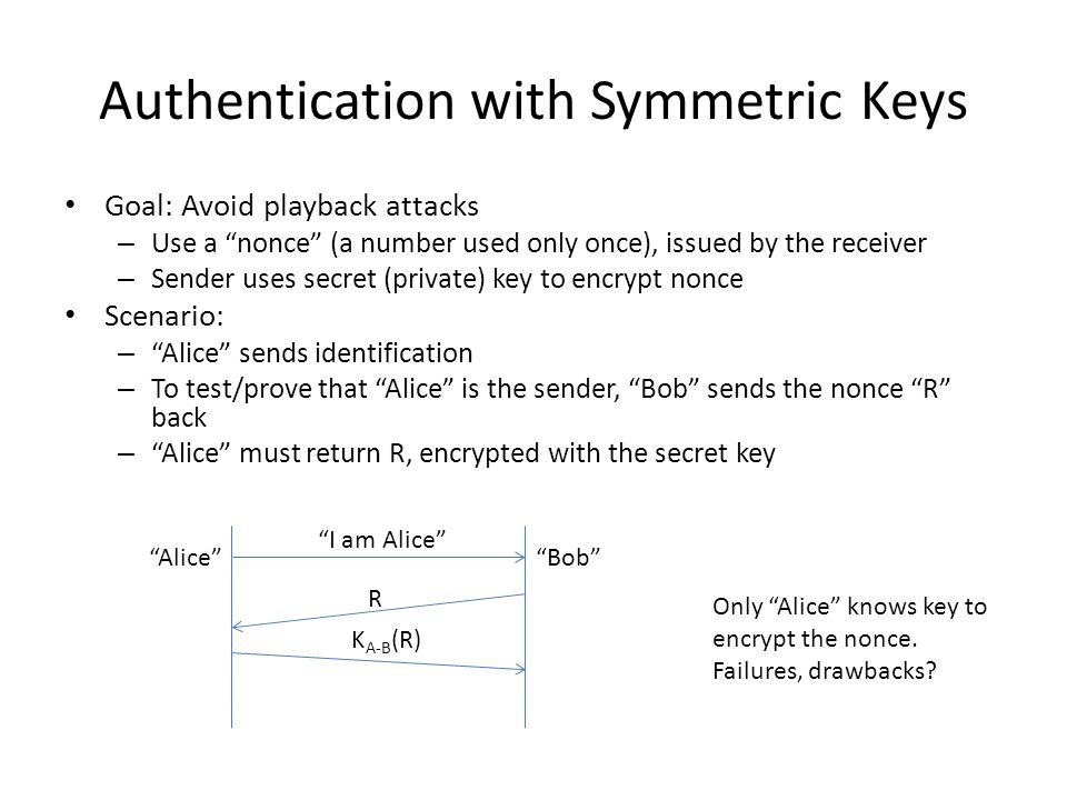 Authentication with Symmetric Keys Goal: Avoid playback attacks – Use a nonce (a number used only once), issued by the receiver – Sender uses secret (private) key to encrypt nonce Scenario: – Alice sends identification – To test/prove that Alice is the sender, Bob sends the nonce R back – Alice must return R, encrypted with the secret key Alice Bob I am Alice R K A-B (R) Only Alice knows key to encrypt the nonce.