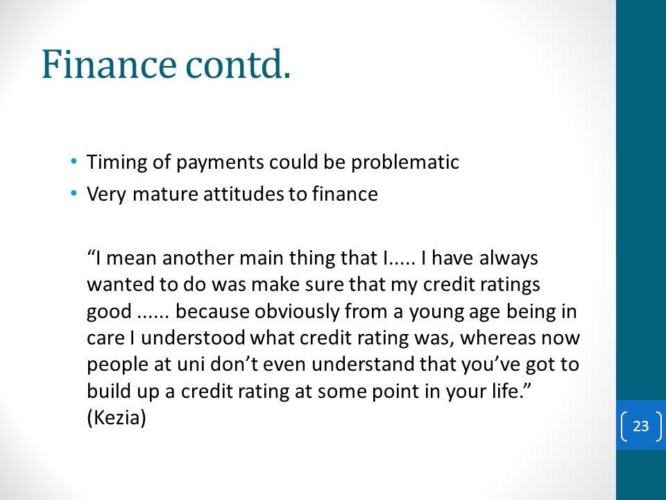 Finance contd.