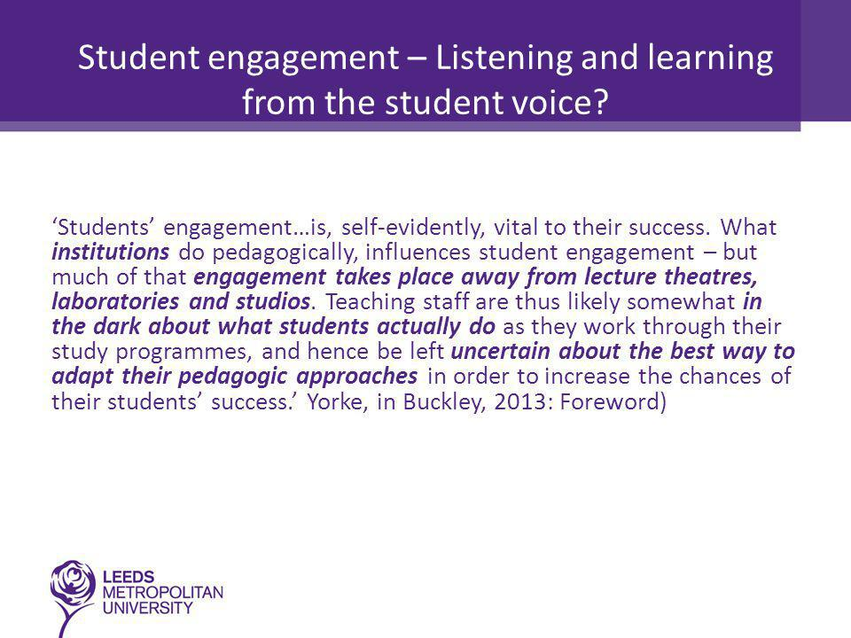Student engagement and its antithesis 'Engagement is more than participation or involvement - it requires feelings, sense-making and activity… Acting without feeling engaged is just involvement or even compliance, feeling engaged without acting is dissociation (Trowler, 2010)' Mann (2001:7) as cited in Trowler (2010) posits the 'engagement-alienation dyad' is more useful in understanding students' relationships to learning than the 'surface-strategic- deep triad' since both the surface and strategic approaches are responses to alienation from content and process.