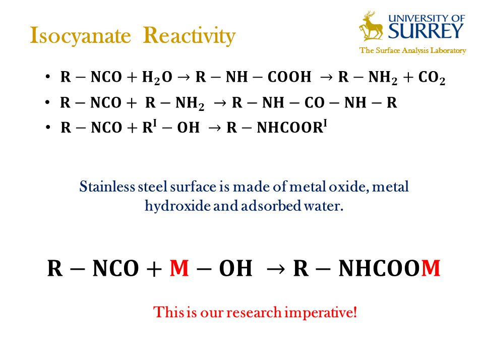 The Surface Analysis Laboratory Isocyanate Reactivity Stainless steel surface is made of metal oxide, metal hydroxide and adsorbed water.