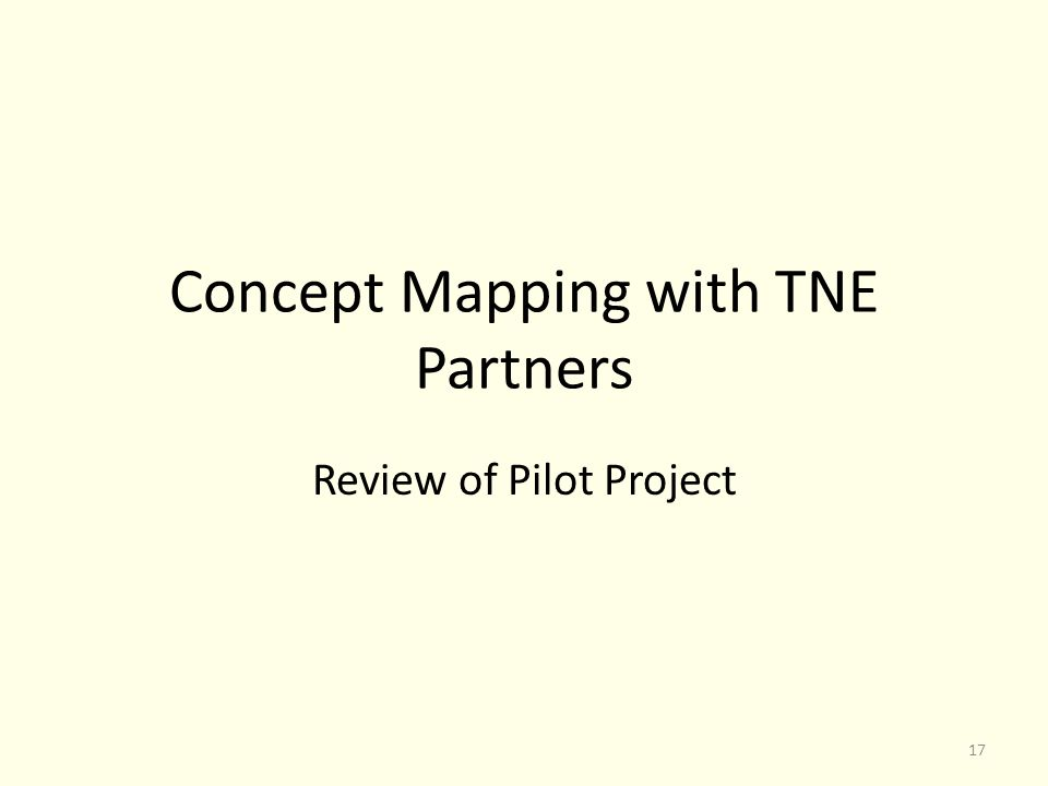 Concept Mapping with TNE Partners Review of Pilot Project 17