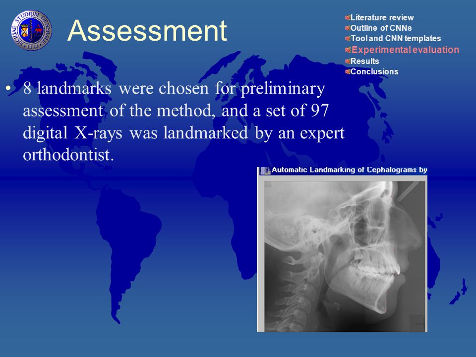 8 landmarks were chosen for preliminary assessment of the method, and a set of 97 digital X-rays was landmarked by an expert orthodontist.