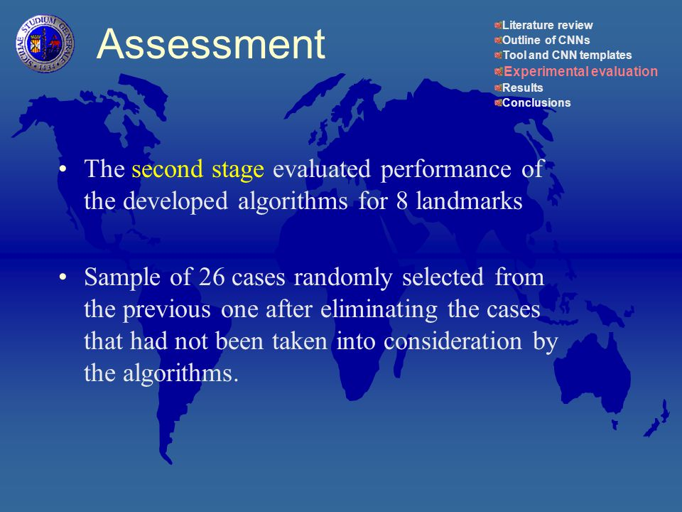 The second stage evaluated performance of the developed algorithms for 8 landmarks Sample of 26 cases randomly selected from the previous one after eliminating the cases that had not been taken into consideration by the algorithms.