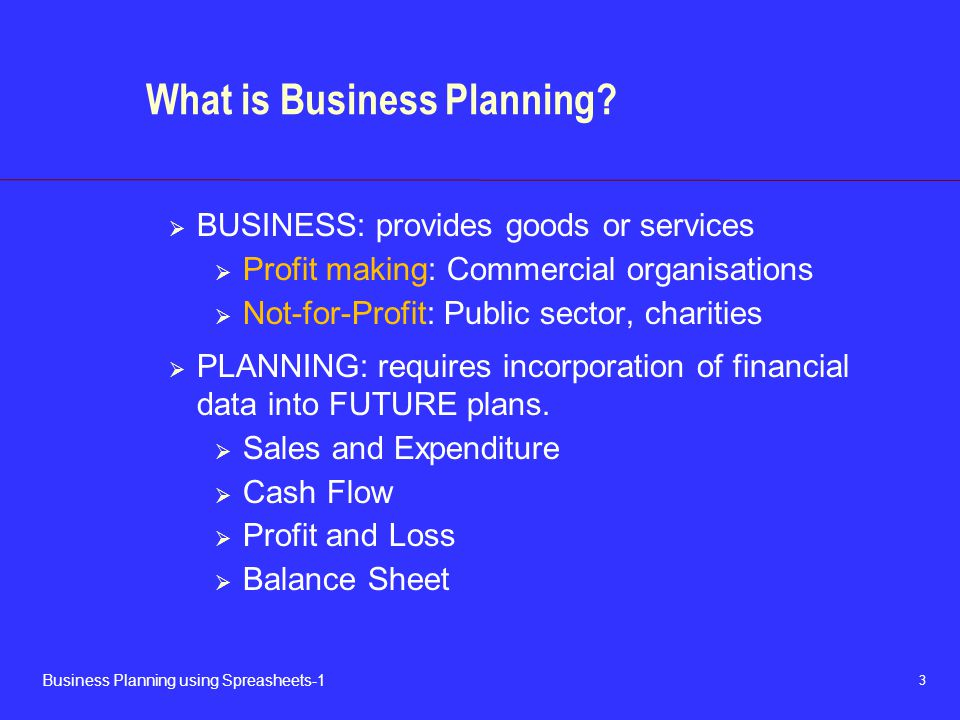 3 Business Planning using Spreasheets-1 What is Business Planning.