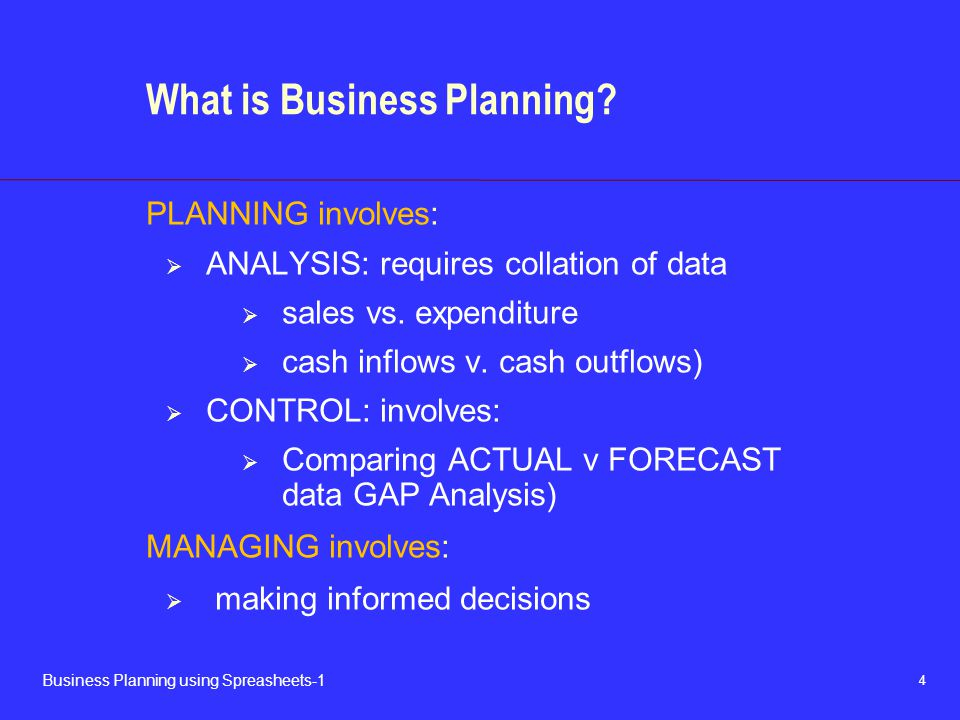 4 Business Planning using Spreasheets-1 What is Business Planning.