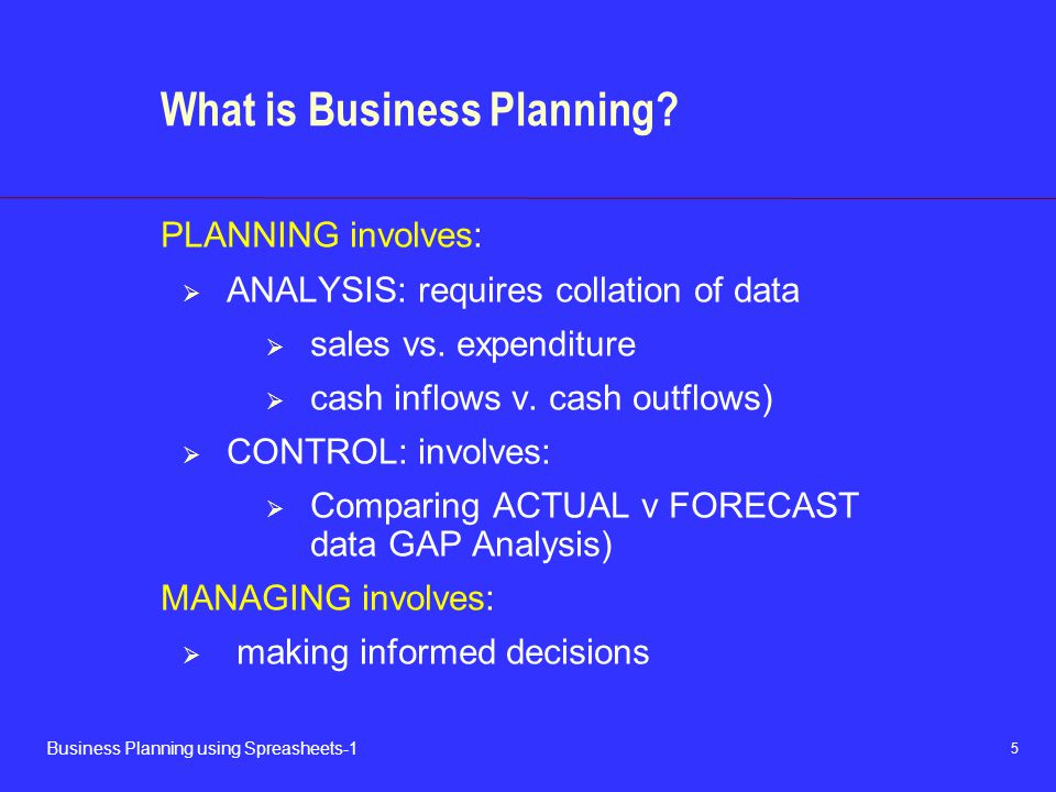 5 Business Planning using Spreasheets-1 What is Business Planning? PLANNING involves:  ANALYSIS: requires collation of data  sales vs. expenditure 