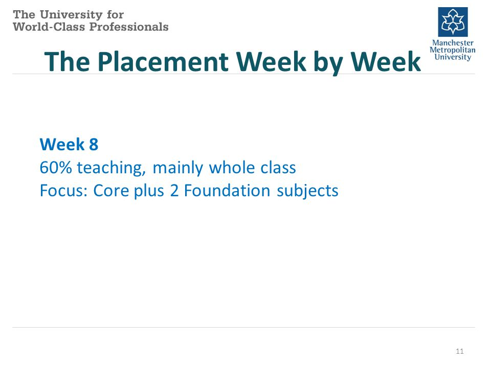 11 The Placement Week by Week Week 8 60% teaching, mainly whole class Focus: Core plus 2 Foundation subjects