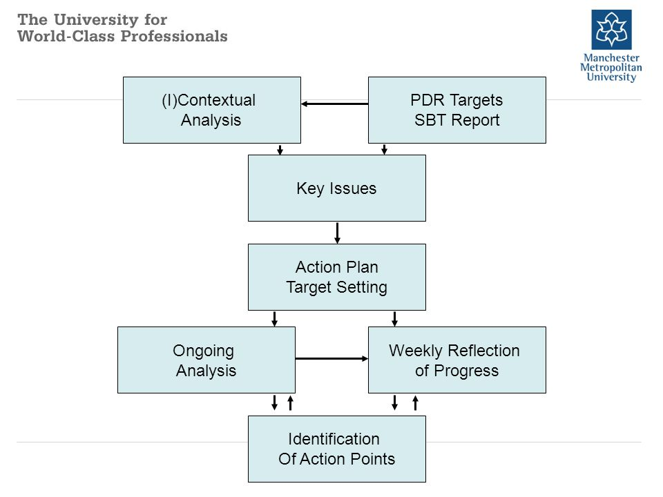 (I)Contextual Analysis PDR Targets SBT Report Key Issues Action Plan Target Setting Ongoing Analysis Weekly Reflection of Progress Identification Of A