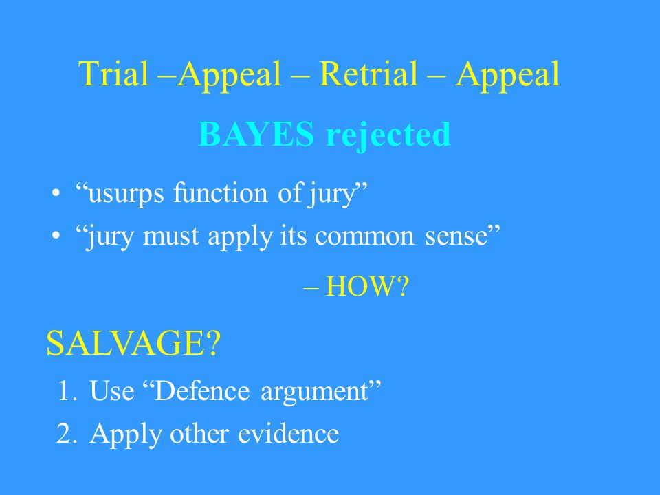 Trial –Appeal – Retrial – Appeal usurps function of jury jury must apply its common sense BAYES rejected – HOW.