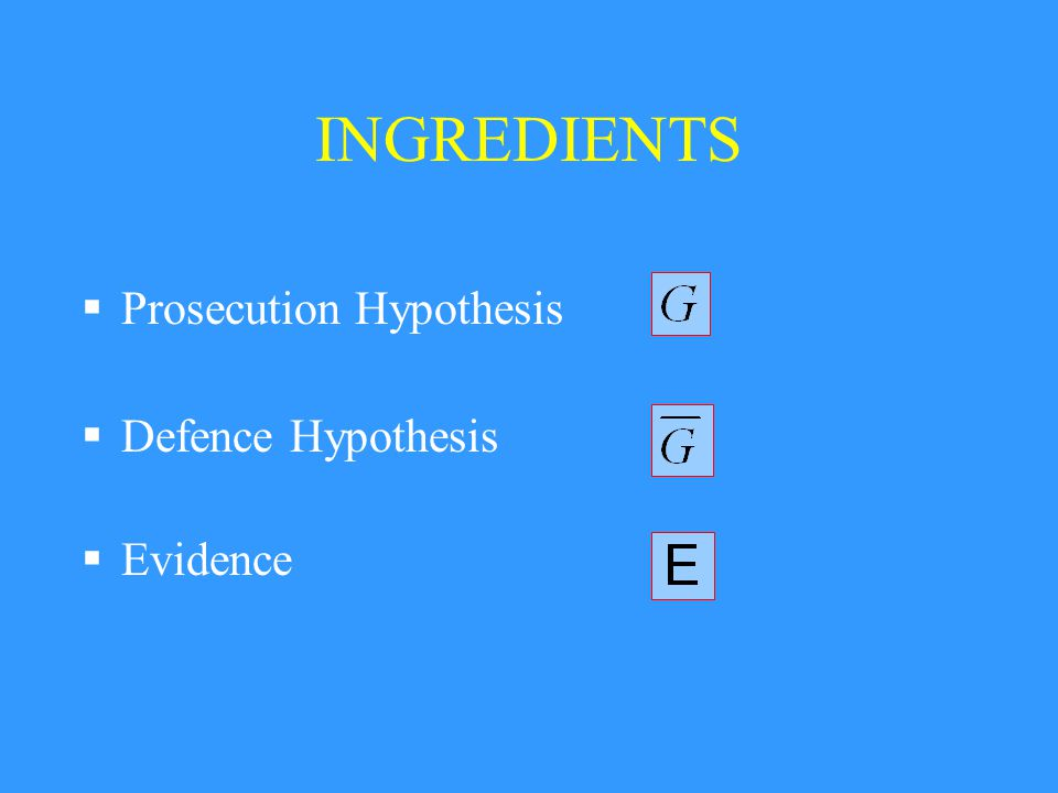 INGREDIENTS  Prosecution Hypothesis  Defence Hypothesis  Evidence