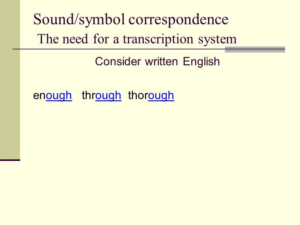 Sound/symbol correspondence The need for a transcription system Consider written English enough through thorough