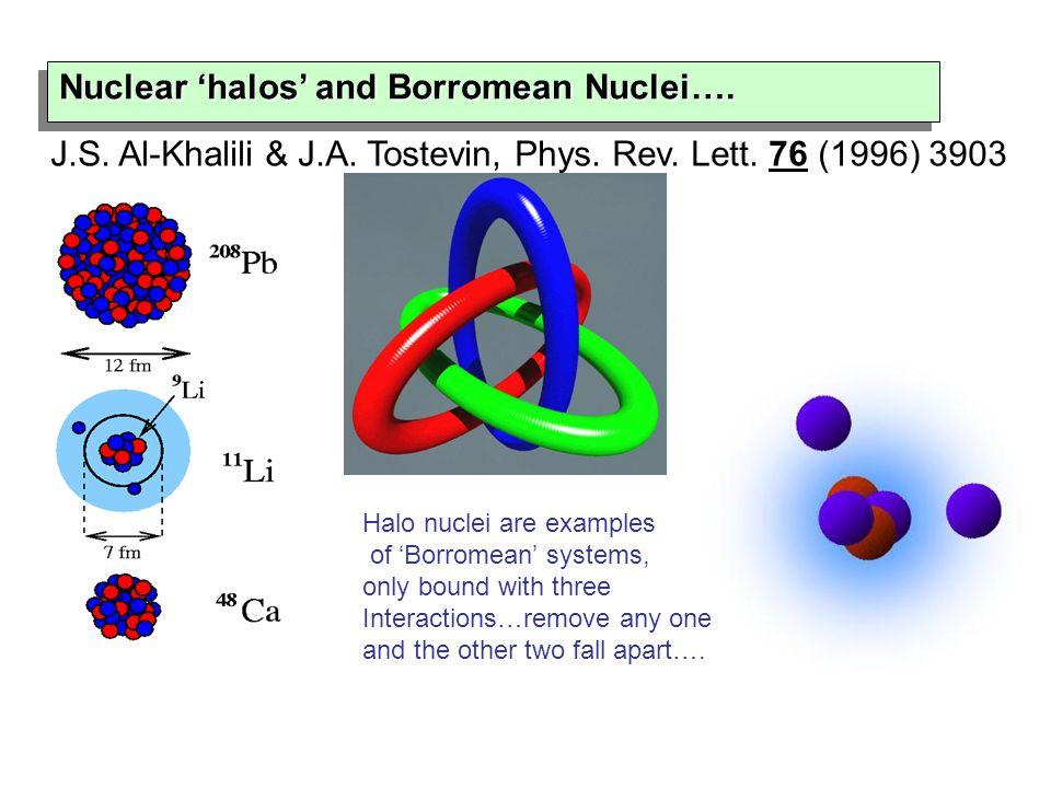 Nuclear 'halos' and Borromean Nuclei…. Nuclear 'halos' and Borromean Nuclei…. J.S. Al-Khalili & J.A. Tostevin, Phys. Rev. Lett. 76 (1996) 3903 Halo nu