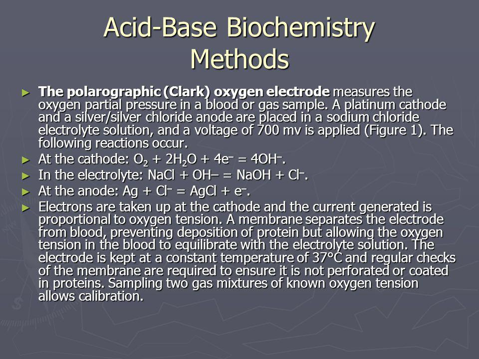 ► The polarographic (Clark) oxygen electrode measures the oxygen partial pressure in a blood or gas sample. A platinum cathode and a silver/silver chl