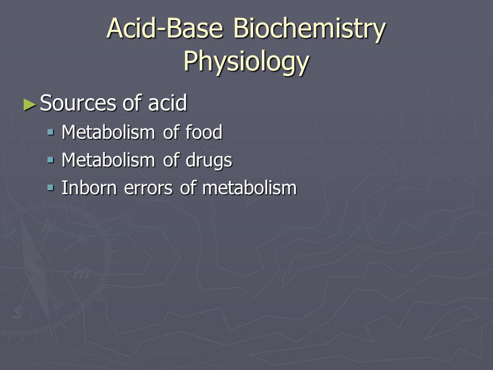 Acid-Base Biochemistry Physiology ► Sources of acid  Metabolism of food  Metabolism of drugs  Inborn errors of metabolism