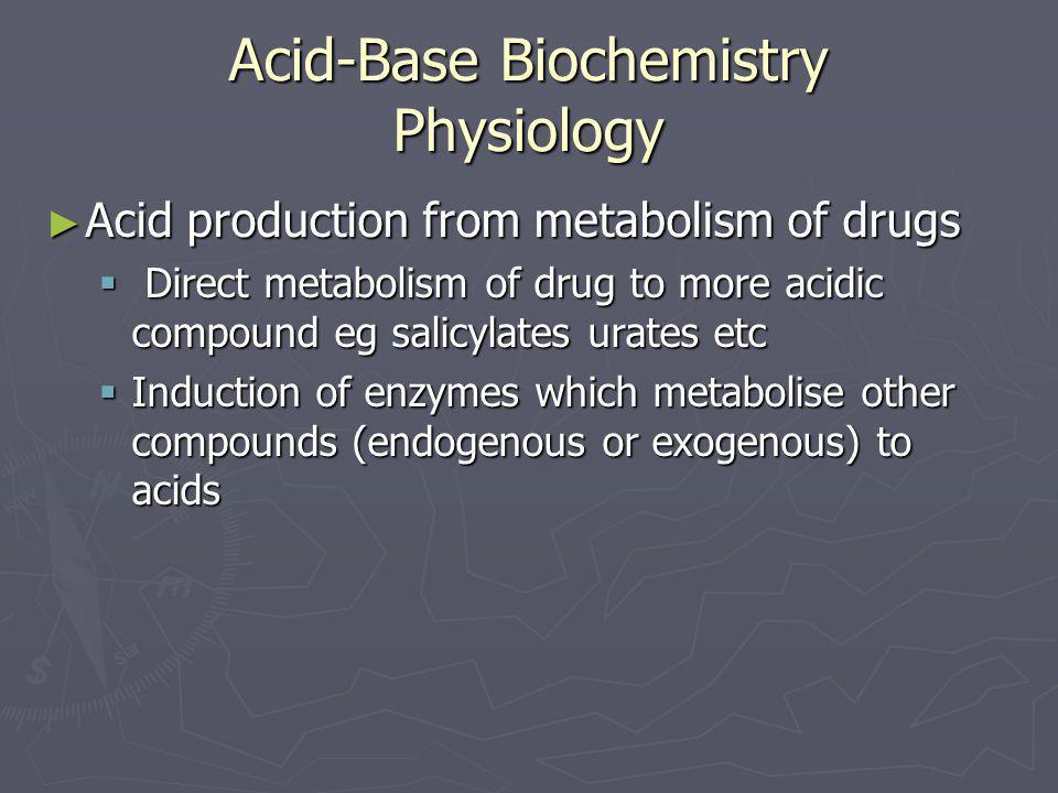 Acid-Base Biochemistry Physiology ► Acid production from metabolism of drugs  Direct metabolism of drug to more acidic compound eg salicylates urates