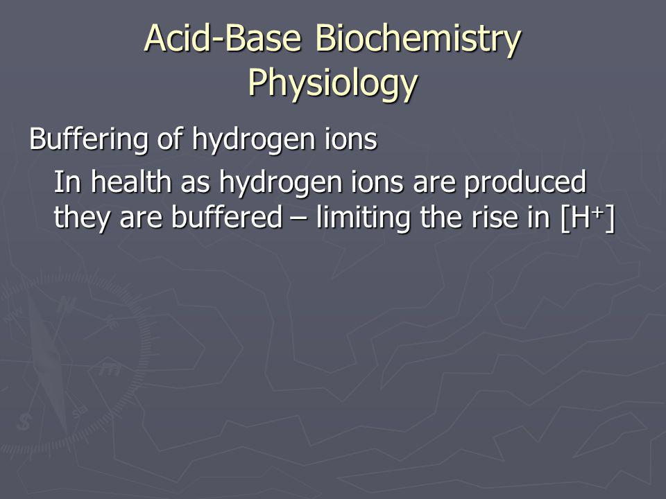 Acid-Base Biochemistry Physiology Buffering of hydrogen ions In health as hydrogen ions are produced they are buffered – limiting the rise in [H + ]