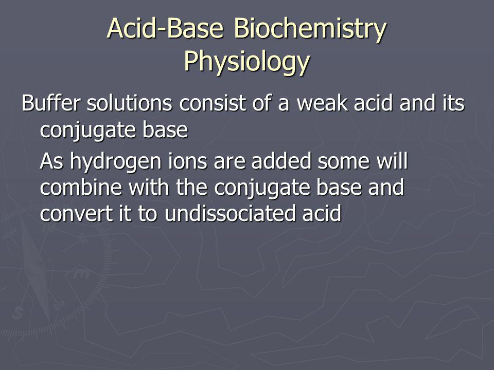 Acid-Base Biochemistry Physiology Buffer solutions consist of a weak acid and its conjugate base As hydrogen ions are added some will combine with the