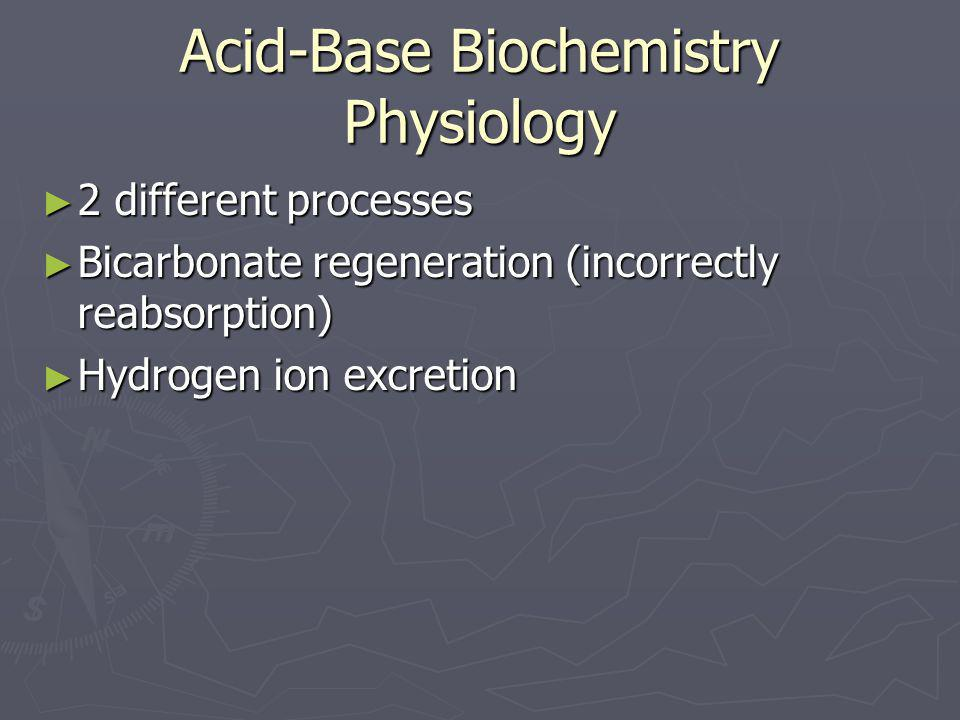 Acid-Base Biochemistry Physiology ► 2 different processes ► Bicarbonate regeneration (incorrectly reabsorption) ► Hydrogen ion excretion