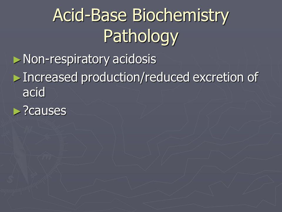 Acid-Base Biochemistry Pathology ► Non-respiratory acidosis ► Increased production/reduced excretion of acid ► ?causes