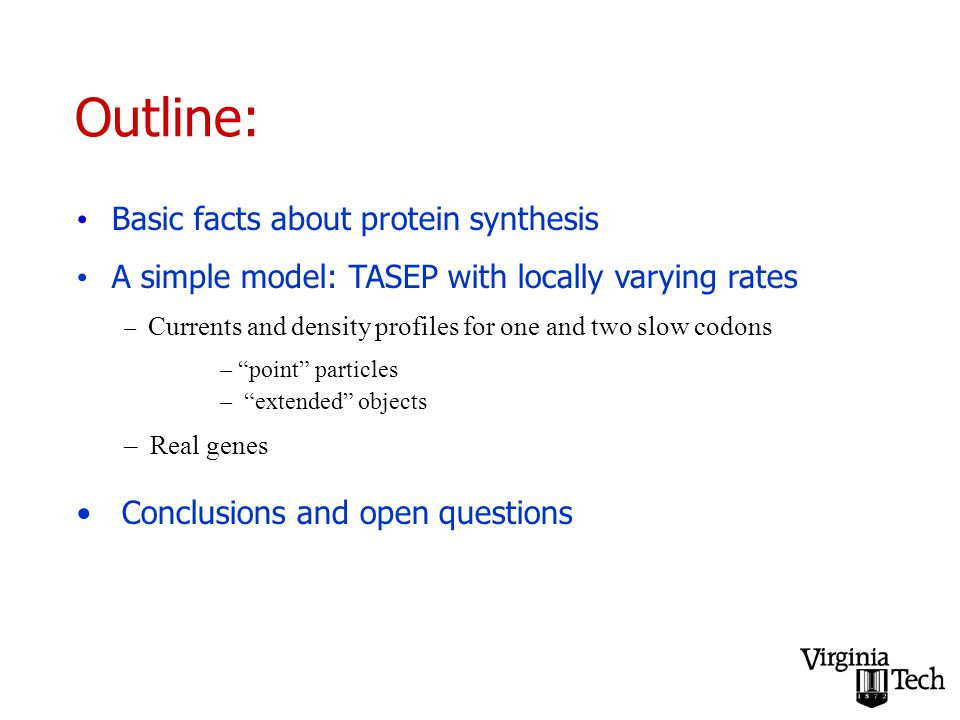 Outline: Basic facts about protein synthesis A simple model: TASEP with locally varying rates – Currents and density profiles for one and two slow codons – point particles – extended objects – Real genes Conclusions and open questions