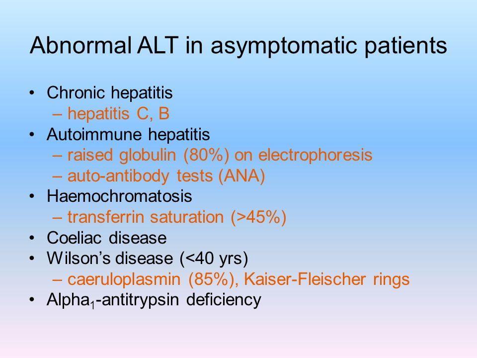 Abnormal ALT in asymptomatic patients Chronic hepatitis –hepatitis C, B Autoimmune hepatitis –raised globulin (80%) on electrophoresis –auto-antibody