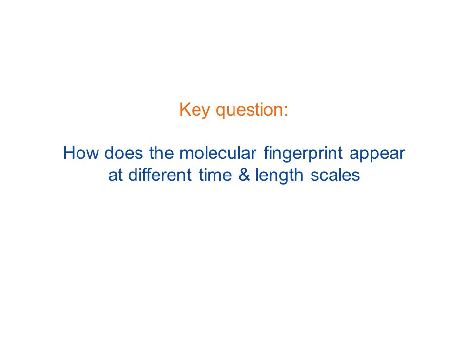 Key question: How does the molecular fingerprint appear at different time & length scales
