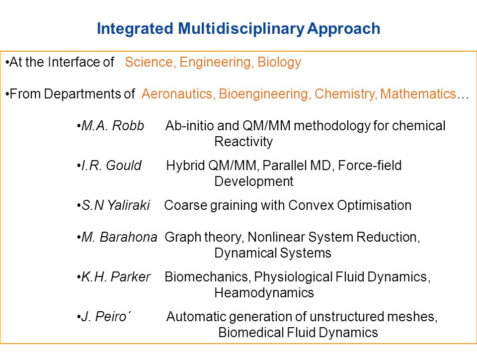 Integrated Multidisciplinary Approach At the Interface of Science, Engineering, Biology From Departments of Aeronautics, Bioengineering, Chemistry, Ma