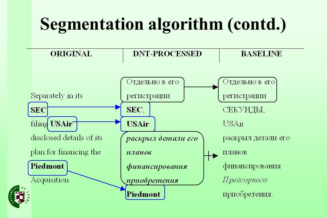 Segmentation algorithm (contd.)