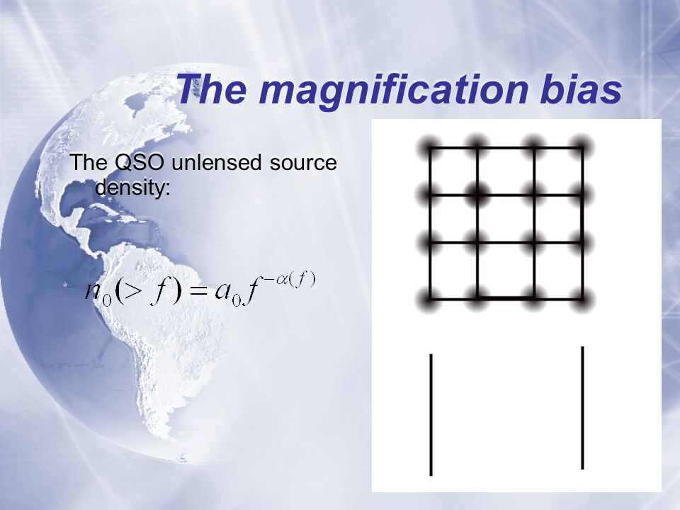 The magnification bias The QSO unlensed source density: