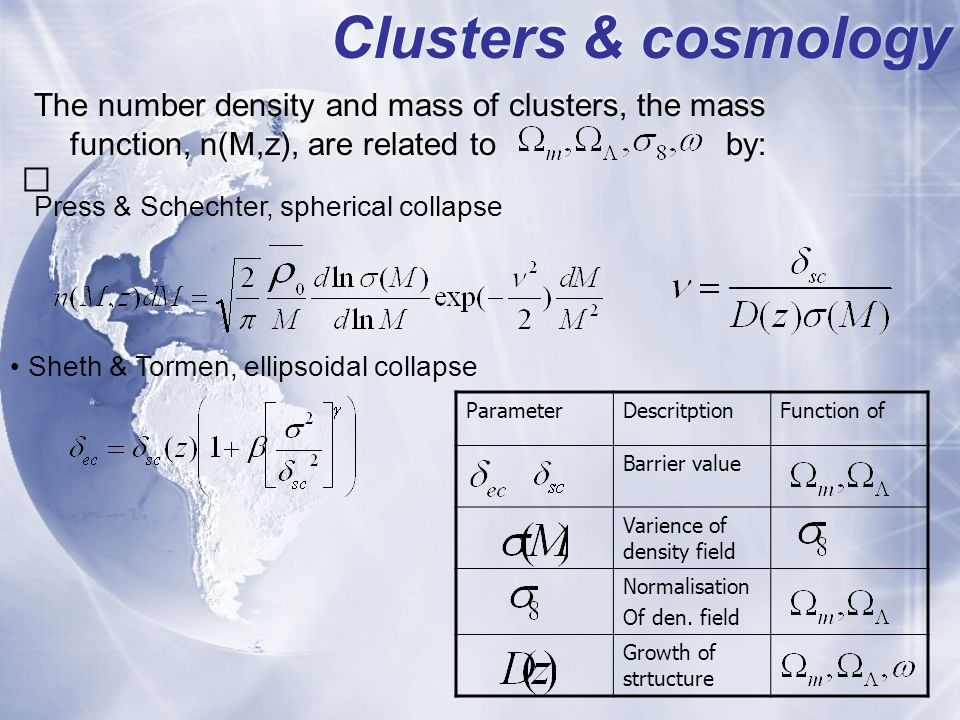 Cluster collapse; cosmology Ellipsodial collapseSpherical collapse Vary matter content Vary w=const Modify Gravity Schaefer & Koyama