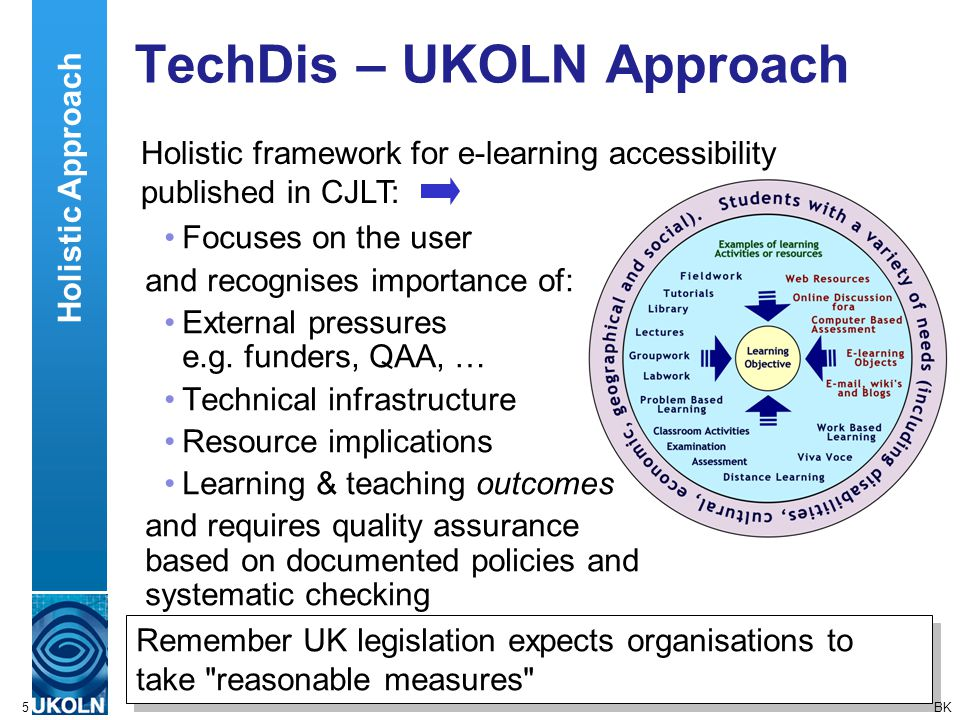 A centre of expertise in digital information managementwww.ukoln.ac.uk 5 TechDis – UKOLN Approach Remember UK legislation expects organisations to tak