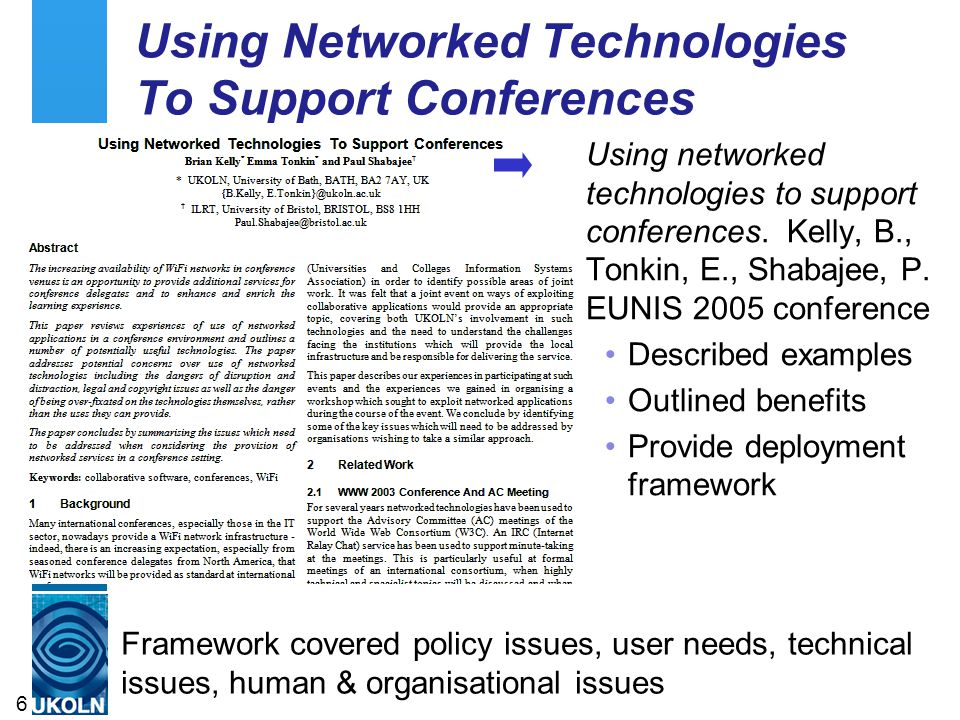 Using Networked Technologies To Support Conferences Using networked technologies to support conferences. Kelly, B., Tonkin, E., Shabajee, P. EUNIS 200