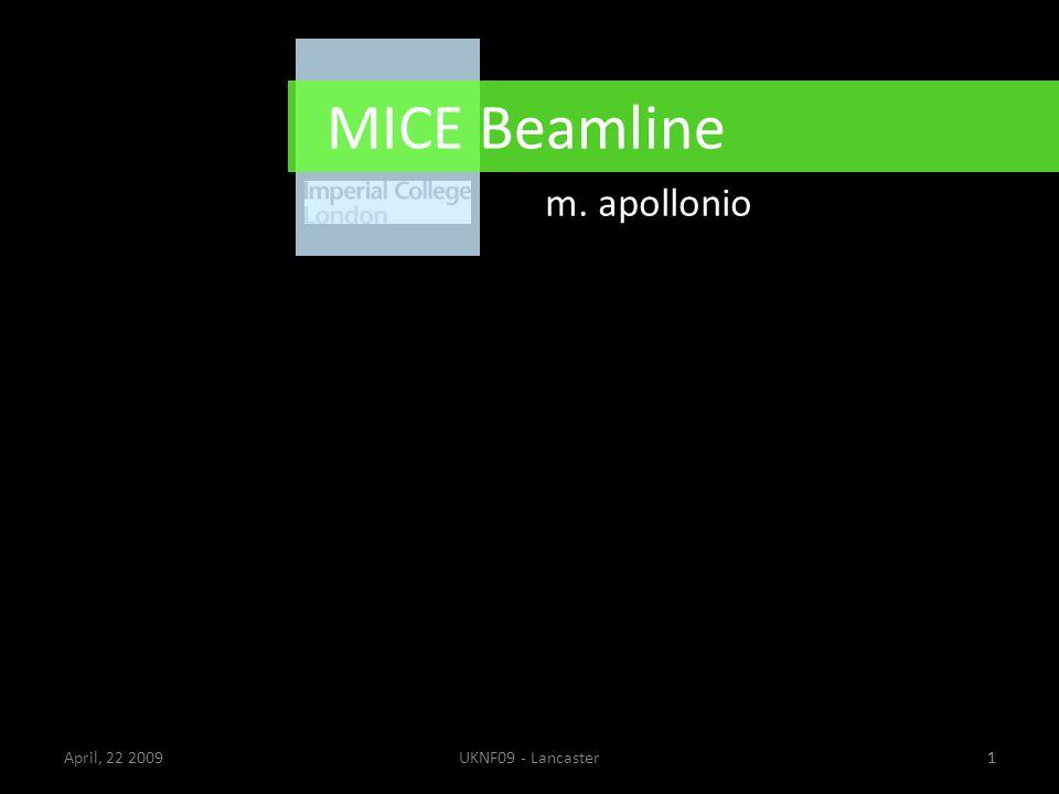 1April, 22 2009UKNF09 - Lancaster1 MICE Beamline m. apollonio