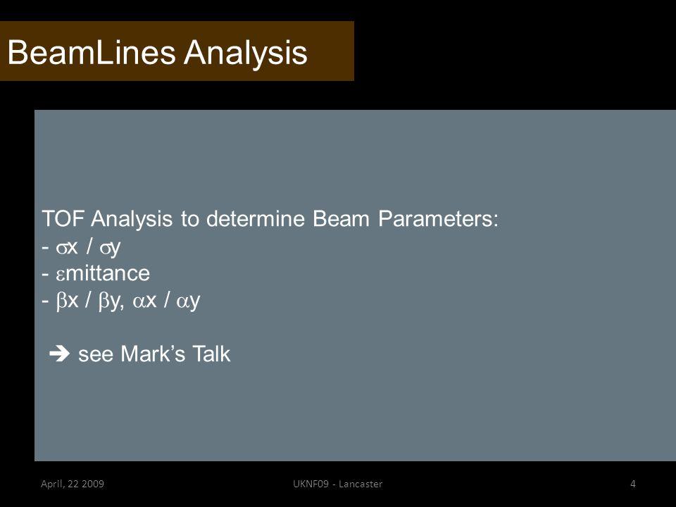 4 TOF Analysis to determine Beam Parameters: -  x /  y -  mittance -  x /  y,  x /  y  see Mark's Talk BeamLines Analysis April, 22 2009UKNF09 - Lancaster