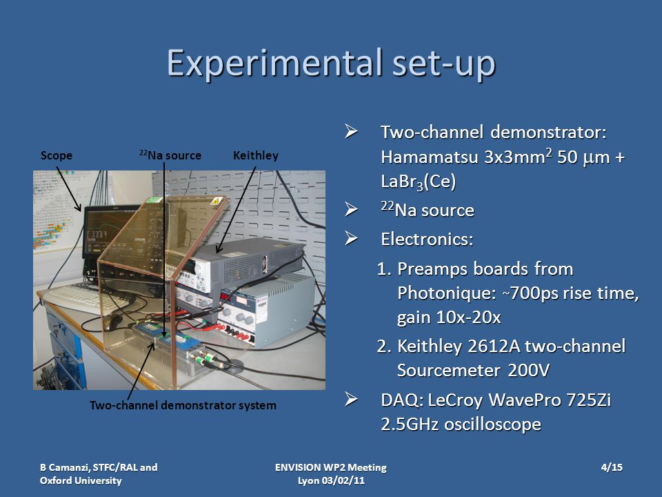 Experimental set-up  Two-channel demonstrator: Hamamatsu 3x3mm 2 50  m + LaBr 3 (Ce)  22 Na source  Electronics: 1.Preamps boards from Photonique: ~ 700ps rise time, gain 10x-20x 2.Keithley 2612A two-channel Sourcemeter 200V  DAQ: LeCroy WavePro 725Zi 2.5GHz oscilloscope ENVISION WP2 Meeting Lyon 03/02/11 ScopeKeithley Two-channel demonstrator system B Camanzi, STFC/RAL and Oxford University 22 Na source 4/15