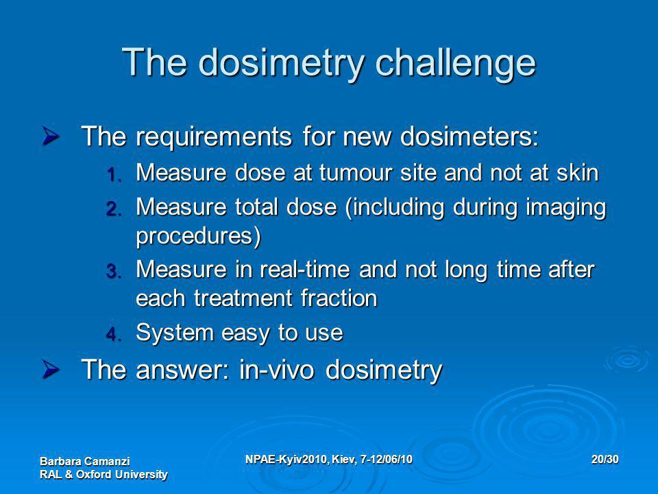 Barbara Camanzi RAL & Oxford University NPAE-Kyiv2010, Kiev, 7-12/06/1020/30 The dosimetry challenge  The requirements for new dosimeters: 1. Measure
