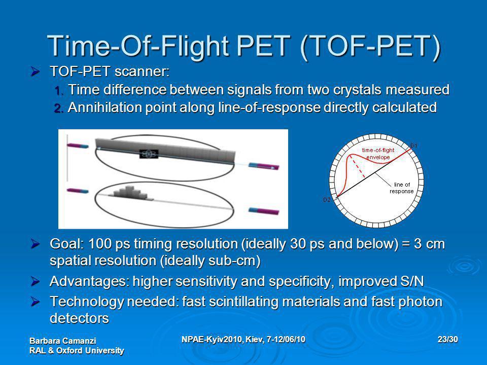 Barbara Camanzi RAL & Oxford University NPAE-Kyiv2010, Kiev, 7-12/06/1023/30 Time-Of-Flight PET (TOF-PET)  TOF-PET scanner: 1. Time difference betwee