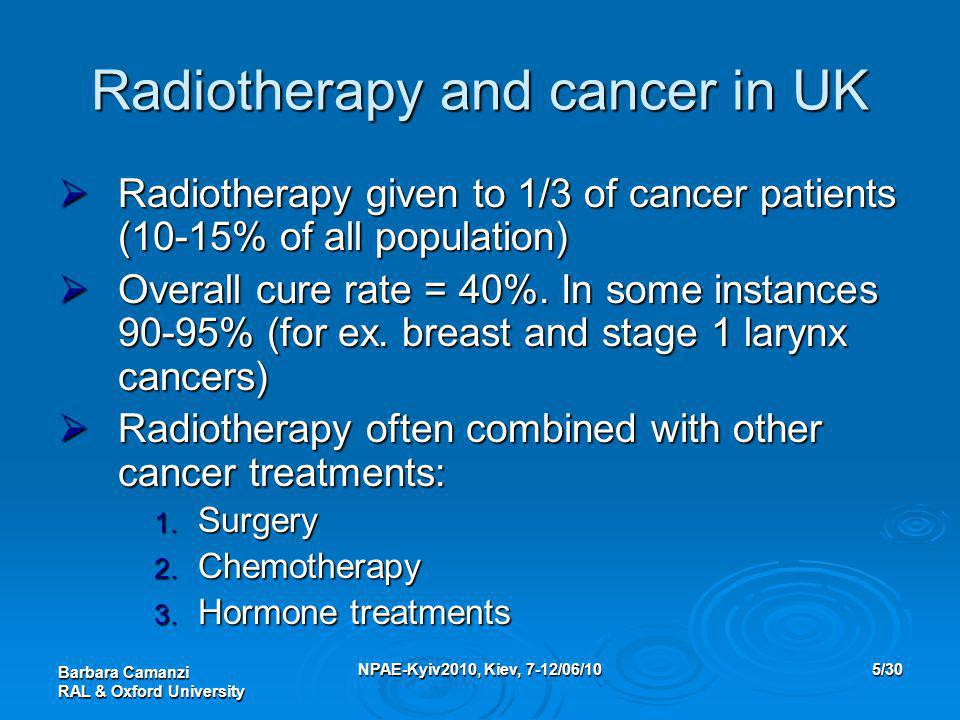 Barbara Camanzi RAL & Oxford University NPAE-Kyiv2010, Kiev, 7-12/06/105/30 Radiotherapy and cancer in UK  Radiotherapy given to 1/3 of cancer patien