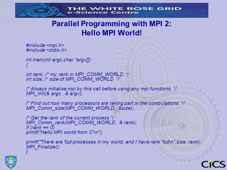 Parallel Programming with MPI 2: Hello MPI World.
