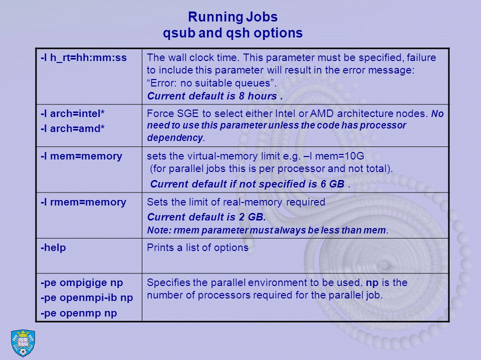 Running Jobs qsub and qsh options -l h_rt=hh:mm:ssThe wall clock time.