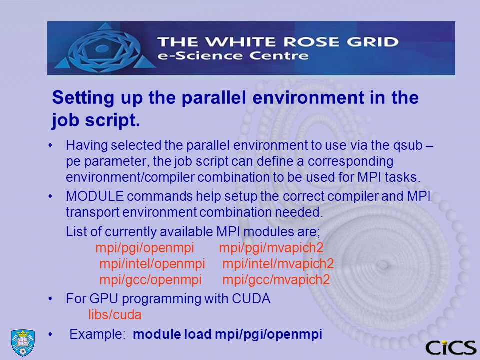 Setting up the parallel environment in the job script.