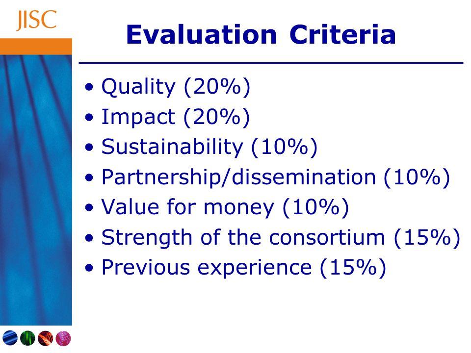 Evaluation Criteria Quality (20%) Impact (20%) Sustainability (10%) Partnership/dissemination (10%) Value for money (10%) Strength of the consortium (