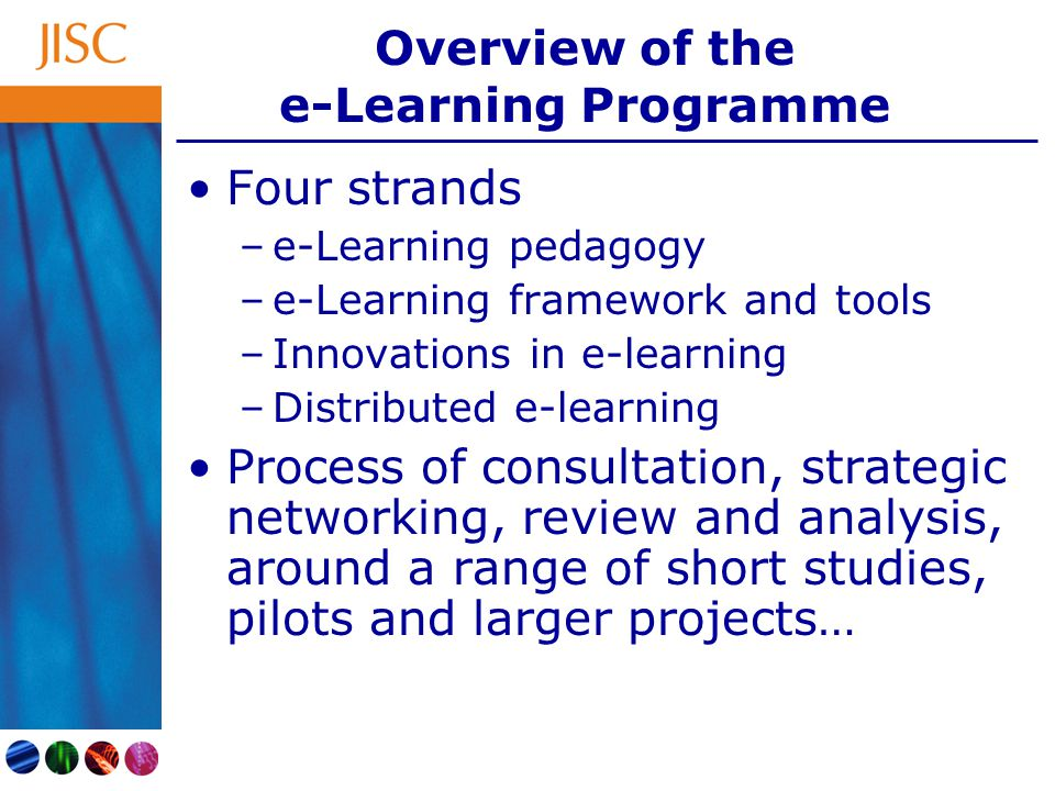 Overview of the e-Learning Programme Four strands –e-Learning pedagogy –e-Learning framework and tools –Innovations in e-learning –Distributed e-learning Process of consultation, strategic networking, review and analysis, around a range of short studies, pilots and larger projects…