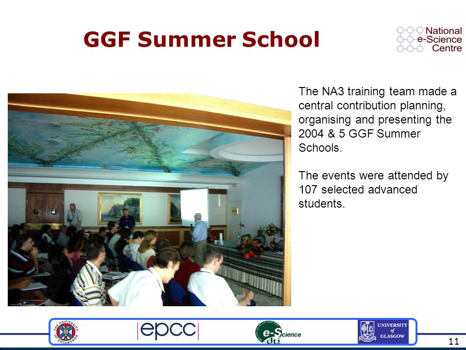 11 GGF Summer School The NA3 training team made a central contribution planning, organising and presenting the 2004 & 5 GGF Summer Schools.